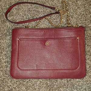 Red and gold ann taylor purse
